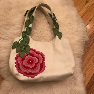 Handbags - Leather rose embroidered purse